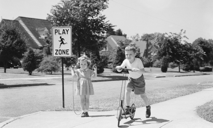 1950s Kids Playing